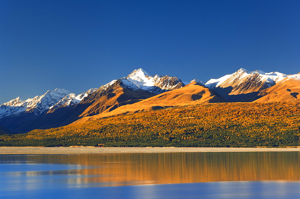 Lake Pukaki and Mount Stevenson, Gammack Range, Southern Alps, Canterbury, South Island, New Zealand, Pacific