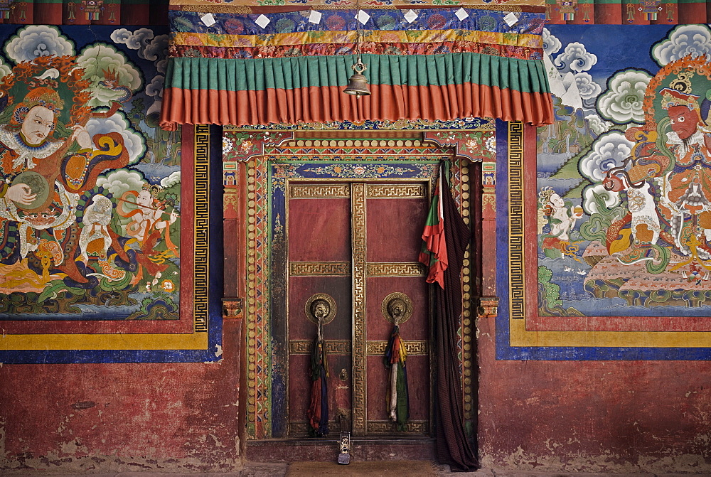 Door and wall paintings, Lamayuru gompa (monastery), Lamayuru, Ladakh, Indian Himalaya, India, Asia