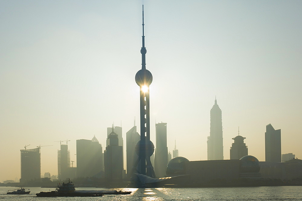 Lujiazui Finance and Trade zone, with Oriental Pearl Tower, and Huangpu River, Pudong New Area, Shanghai, China, Asia