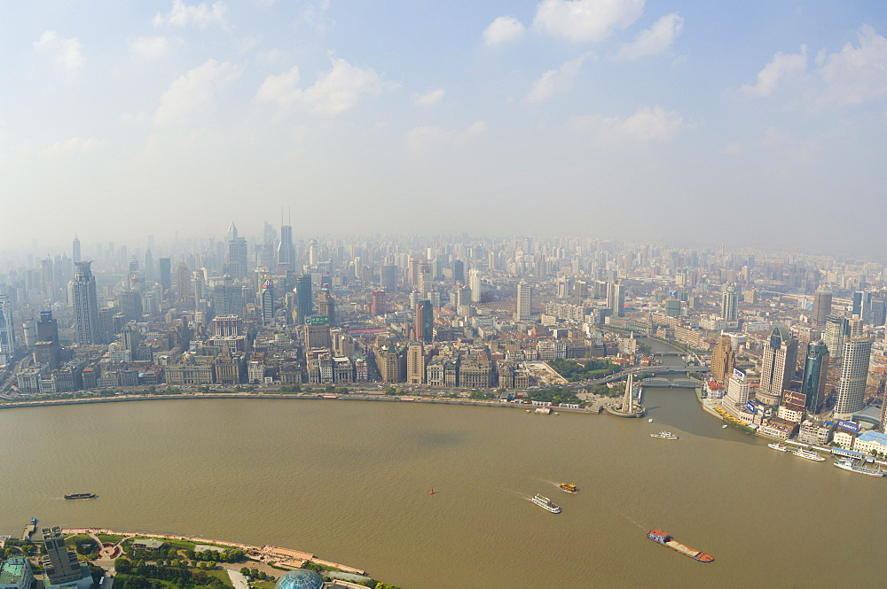 Aerial view from Oriental Pearl Tower of Huangpu District and Huangpu River, Shanghai, China, Asia - 756-584