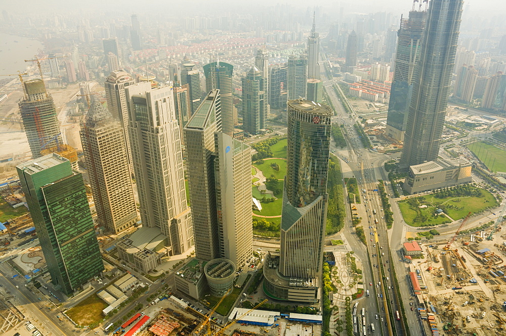 Aerial view from Oriental Pearl Tower of Lujiazui Finance and Trade zone, Shanghai, China, Asia - 756-587