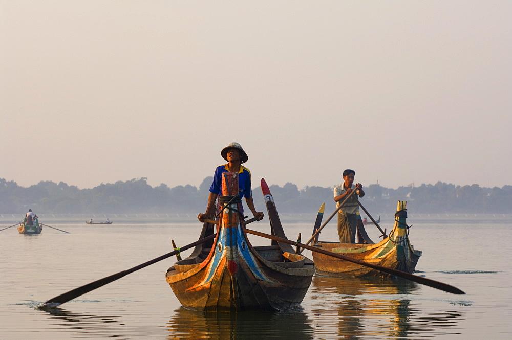 Boats on Thaungthaman Lake, Amarapura, Myanmar (Burma), Asia - 756-806
