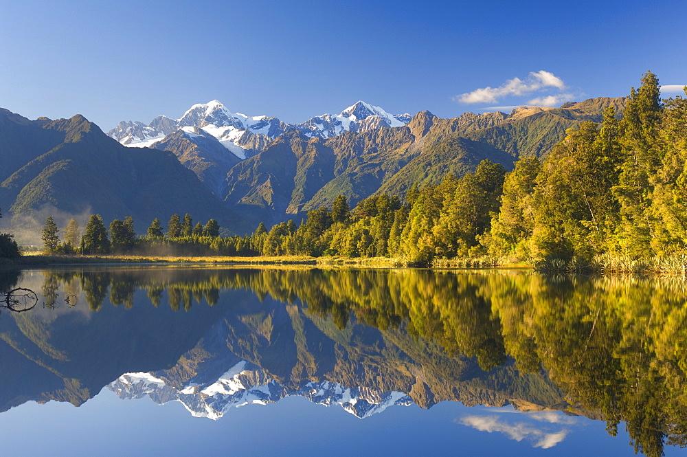 Lake Matheson, Mount Tasman and Mount Cook, Westland, South Island, New Zealand, Pacific