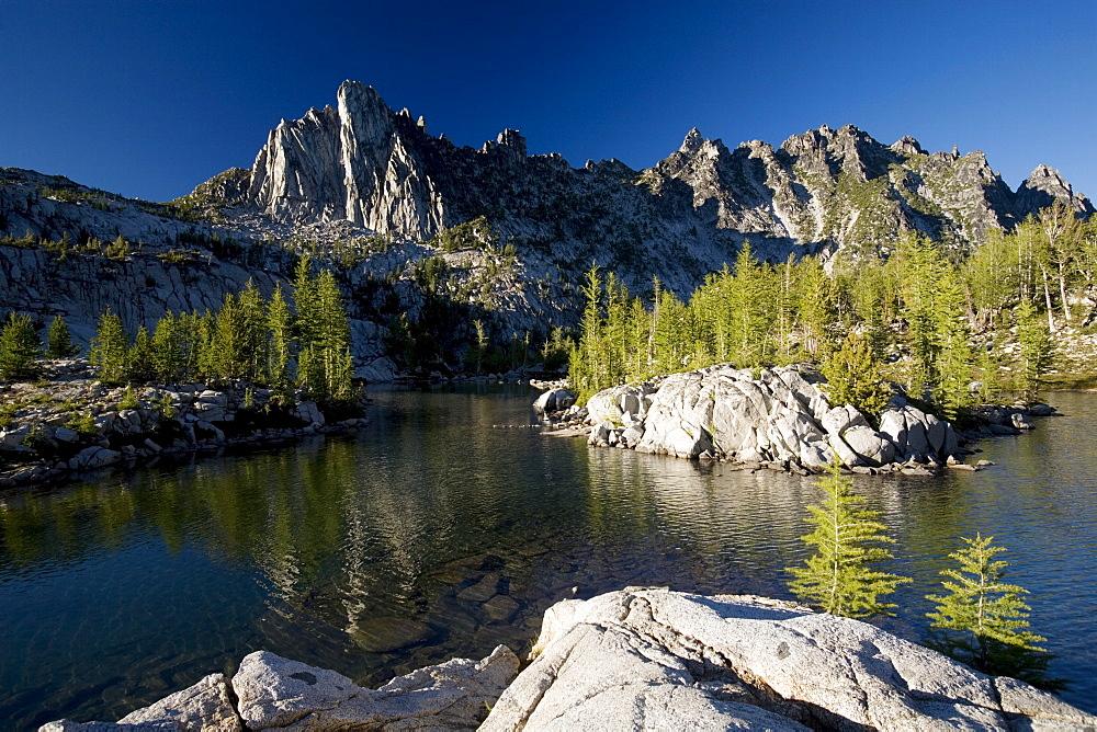 Prusik Peak, Leprechaun Lake, Enchantment Lakes, Alpine Lakes Wilderness, Leavenworth region, Washington State, United States of America, North America - 757-202