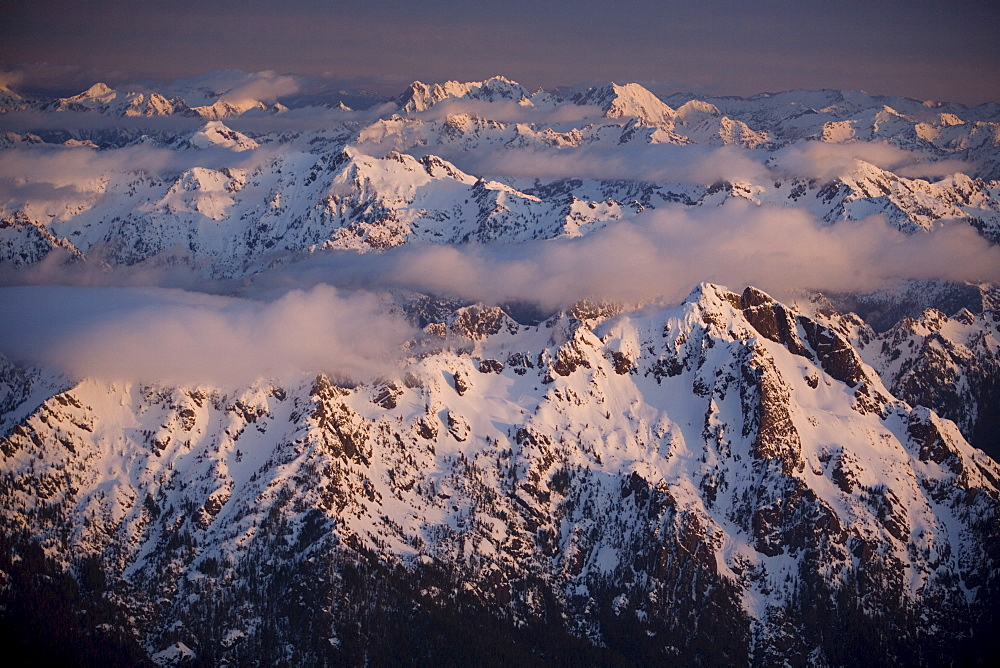 Aerial landscape, Olympic mountains, Olympic National Park,  UNESCO World Heritage Site, Washington State, United States of America, North America - 757-204