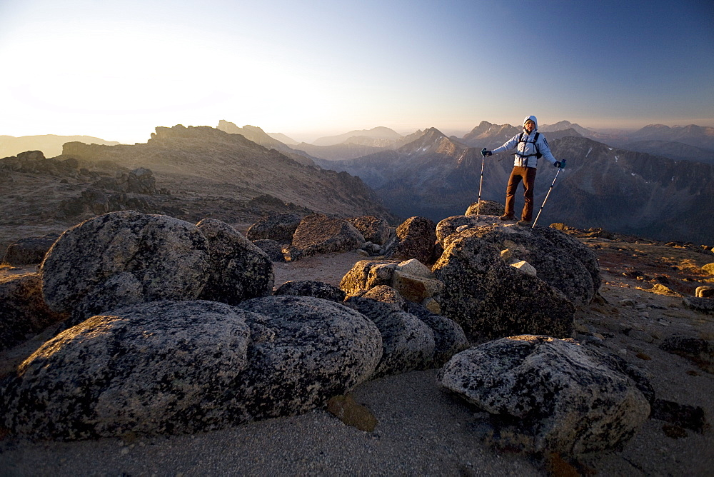 Hiker at sunrise, Cathedral Provincial Park, British Columbia, Canada, North America - 757-221