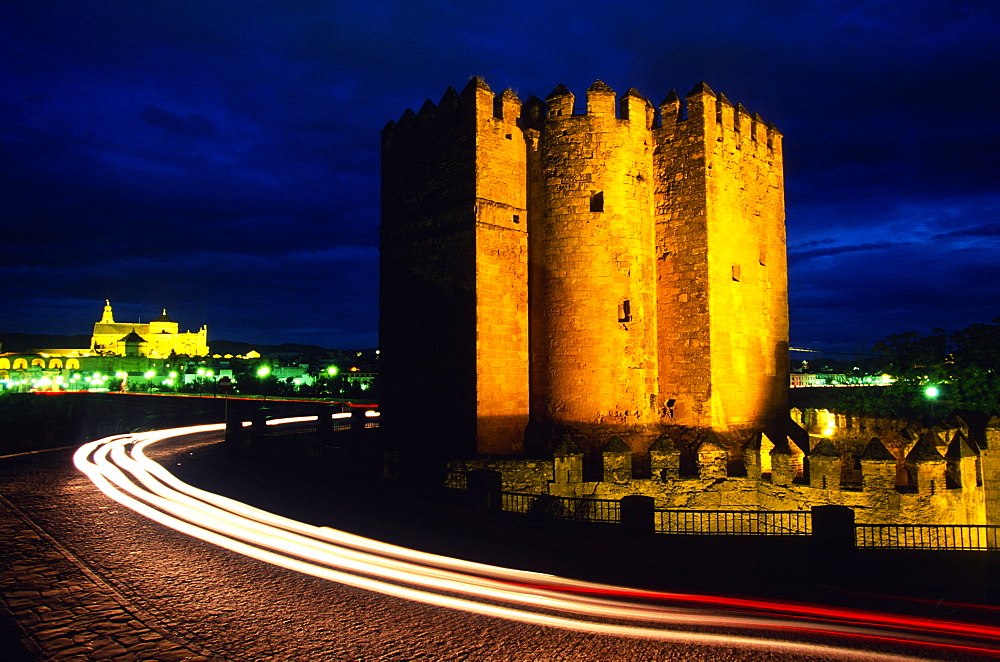 The Calahorra Tower at night with the Mezquita in the distance, Cordoba, Andalucia, Spain, Europe - 757-224