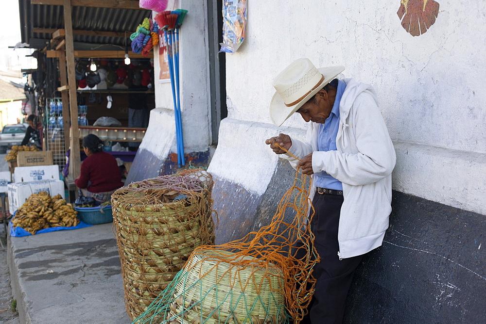 Man mending basket, Nebaj, Guatemala, Central America - 757-247