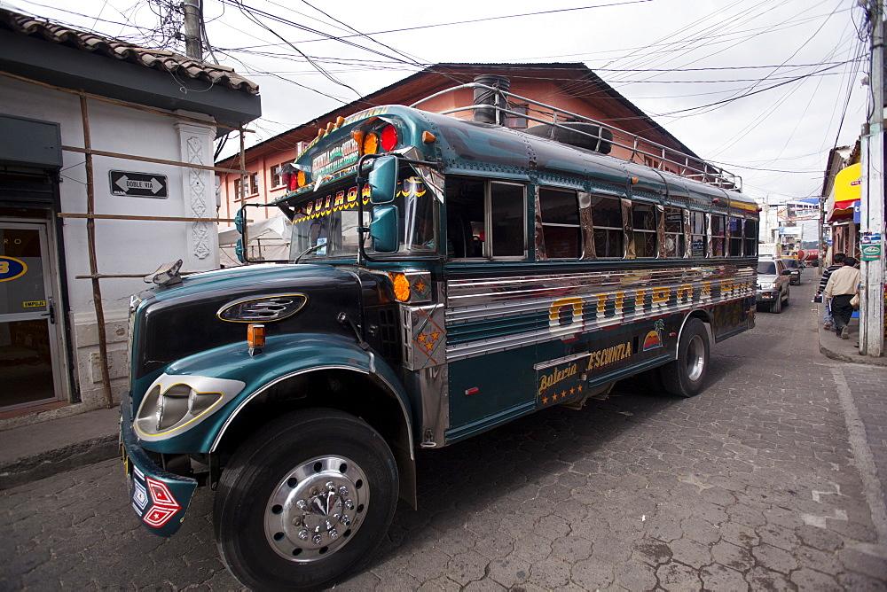 Chicken bus, Chichicastenango, Guatemala, Central America - 757-256
