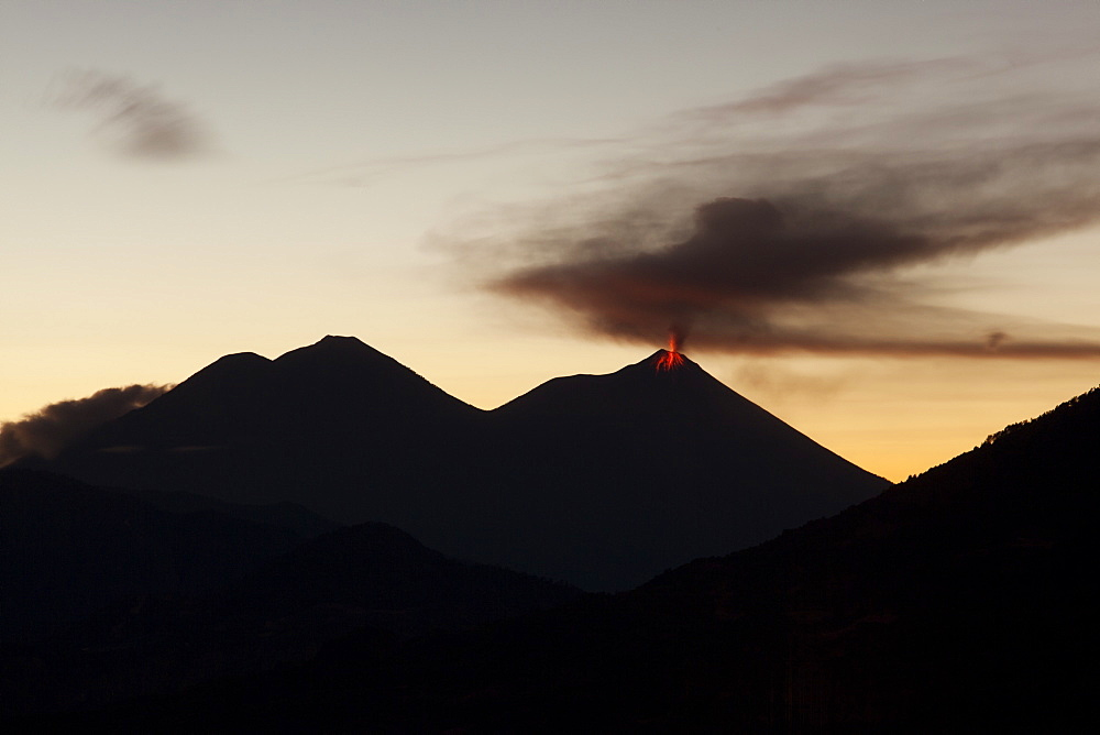 Volcan Fuego, seen from Indian Nose above Lago Atitlan, Guatemala, Central America