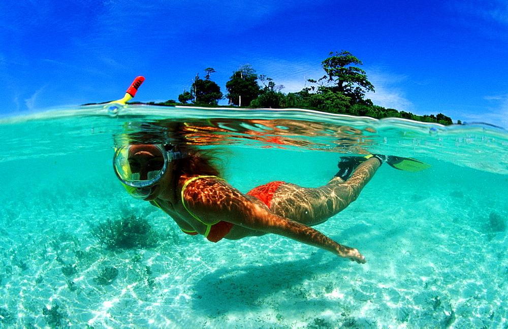 Skindiving, Skin diver, split image, Malaysia, Pazifik, Pacific ocean, Borneo, Lankayan
