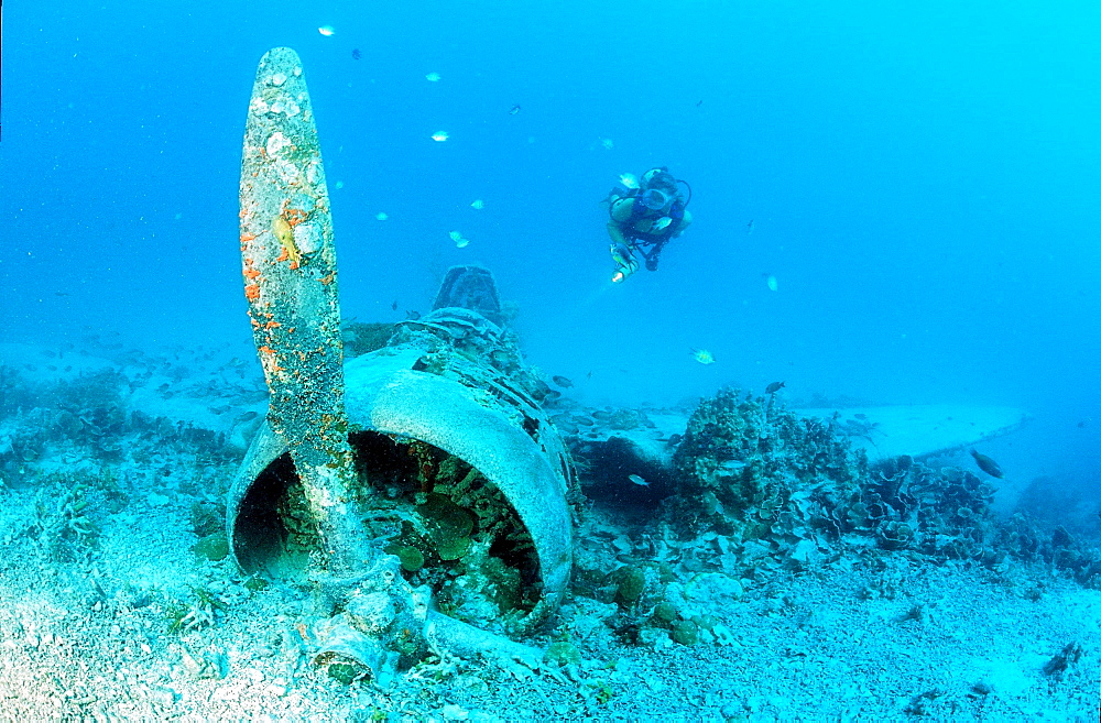 Sunken aeroplane and scuba diver, Papua New Guinea, Pacific Ocean - 759-2000