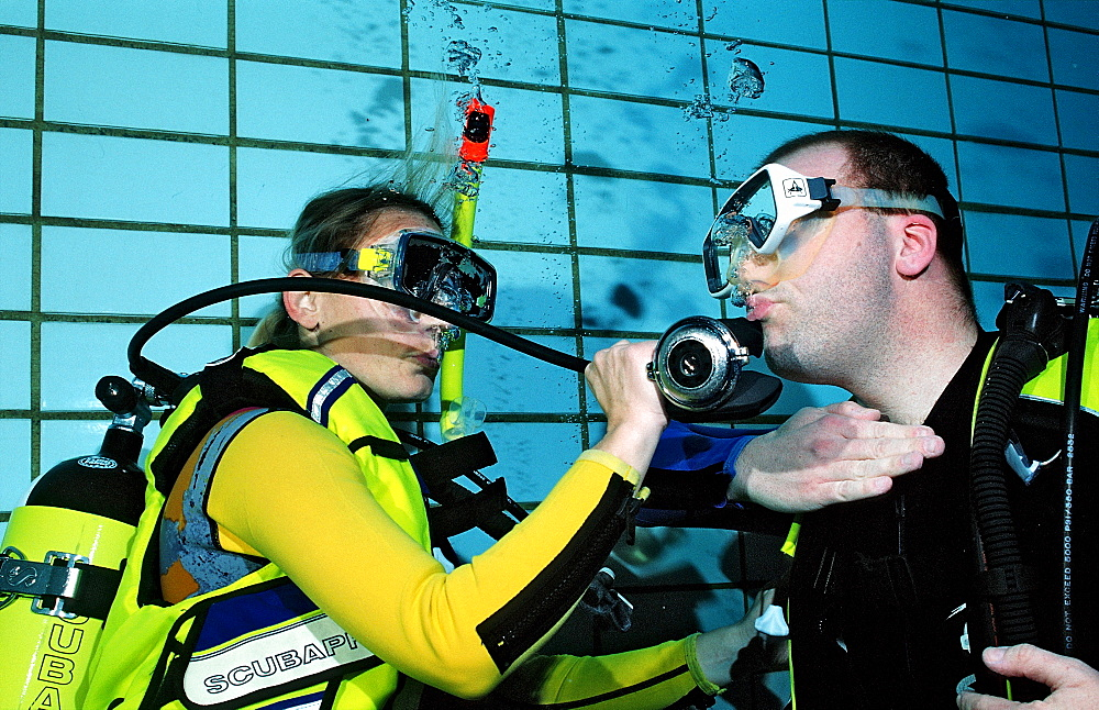 scuba diving lessons in a swimming pool, buddy breathing, Germany, Munich, Olympiabad