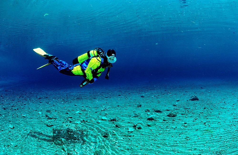 Scuba Diver in a mountain lake, Austria, Steiermark, Gruener See