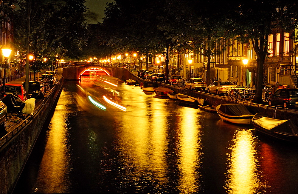 Keizersgracht at night, Amsterdam, The Netherlands (Holland), Europe