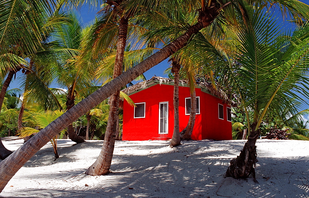 Colorful chalet on the beach, Catalina Island, Dominican Republic, West Indies, Caribbean, Central America