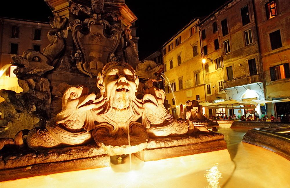 Fontain and Pantheon, Italy, Rome, Piazza della Rotonda