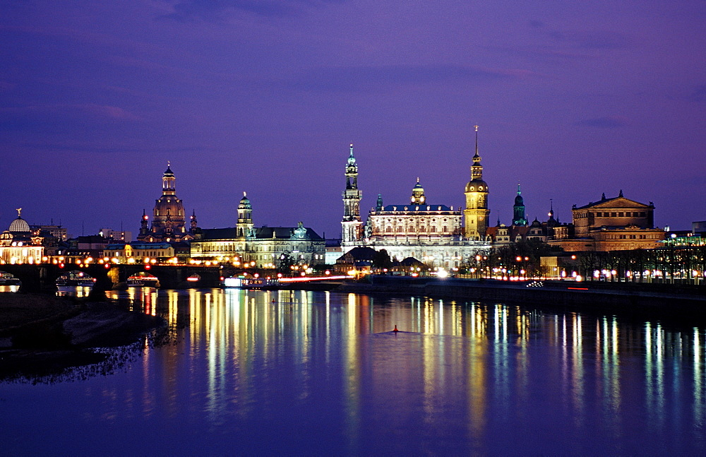 View of Dresden by Night, Germany, Dresden, Sachsen