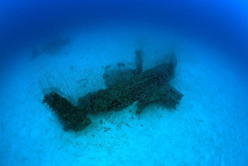 Bomber near to USS Saratoga, Marshall Islands, Bikini Atoll, Micronesia, Pacific Ocean