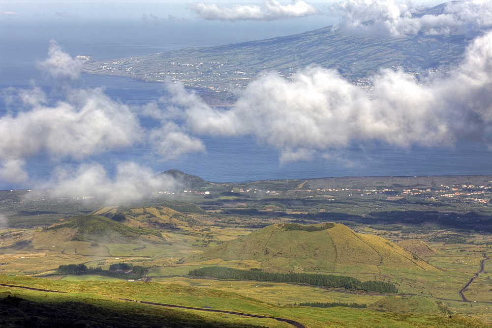 Landscape of Pico with Faial Island in Background, Pico Island, Azores, Portugal