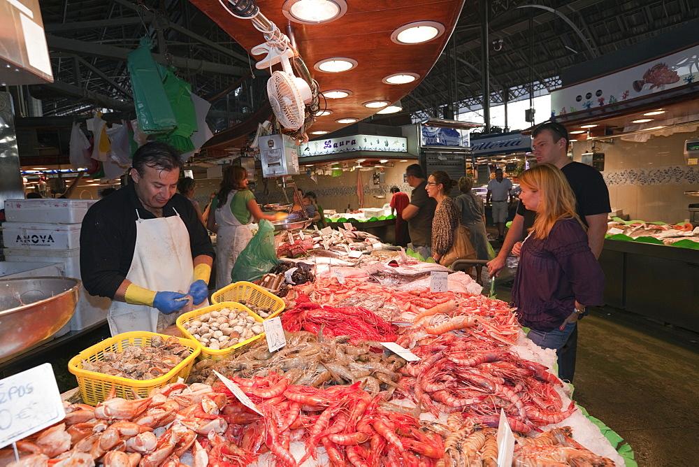 Fish Market at La Boqueria, Barcelona, Catalonia, Spain
