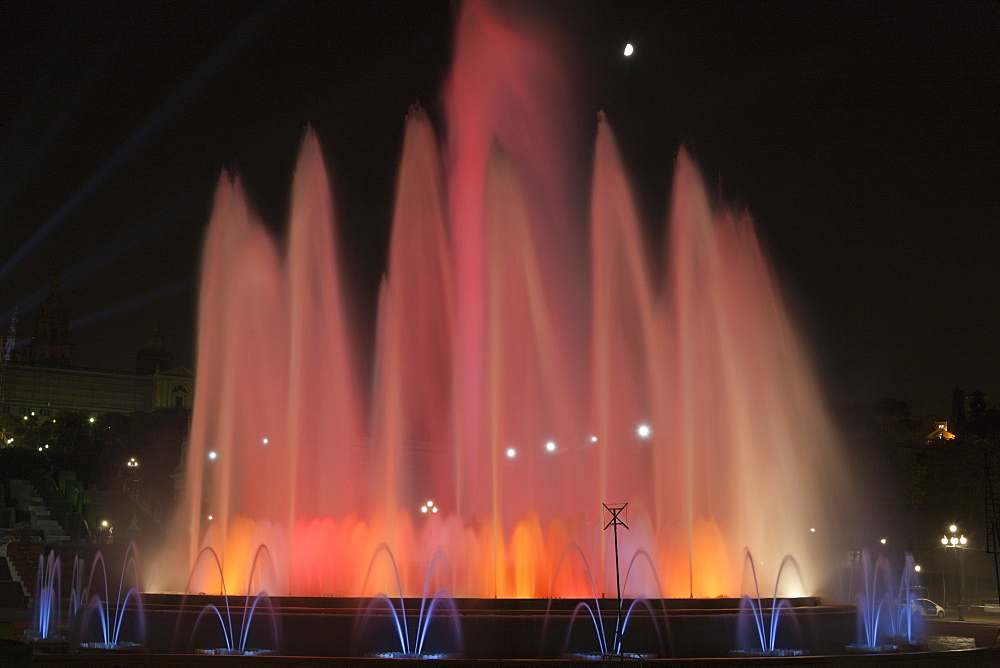 Illuminated Fountain Font Magica at Montjuic, Barcelona, Catalonia, Spain