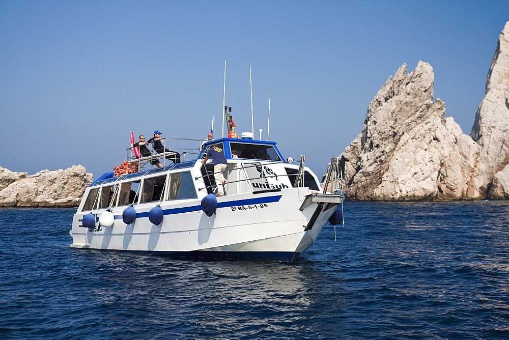 Scuba diving Boat at Medes Islands, Costa Brava, Catalonia, Spain