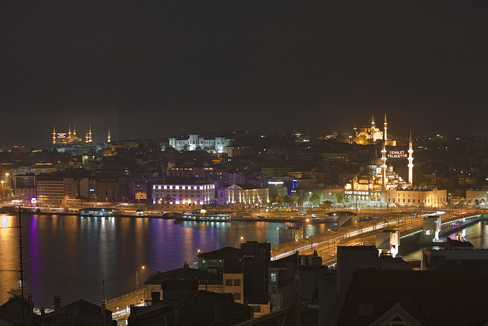 Galata Bridge over Golden Horn and Area of Eminoenue and Sultanahmet, Istanbul, Turkey