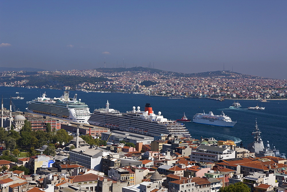 View from Galata Tower to Bosporus and Asien Continent, Istanbul, Turkey