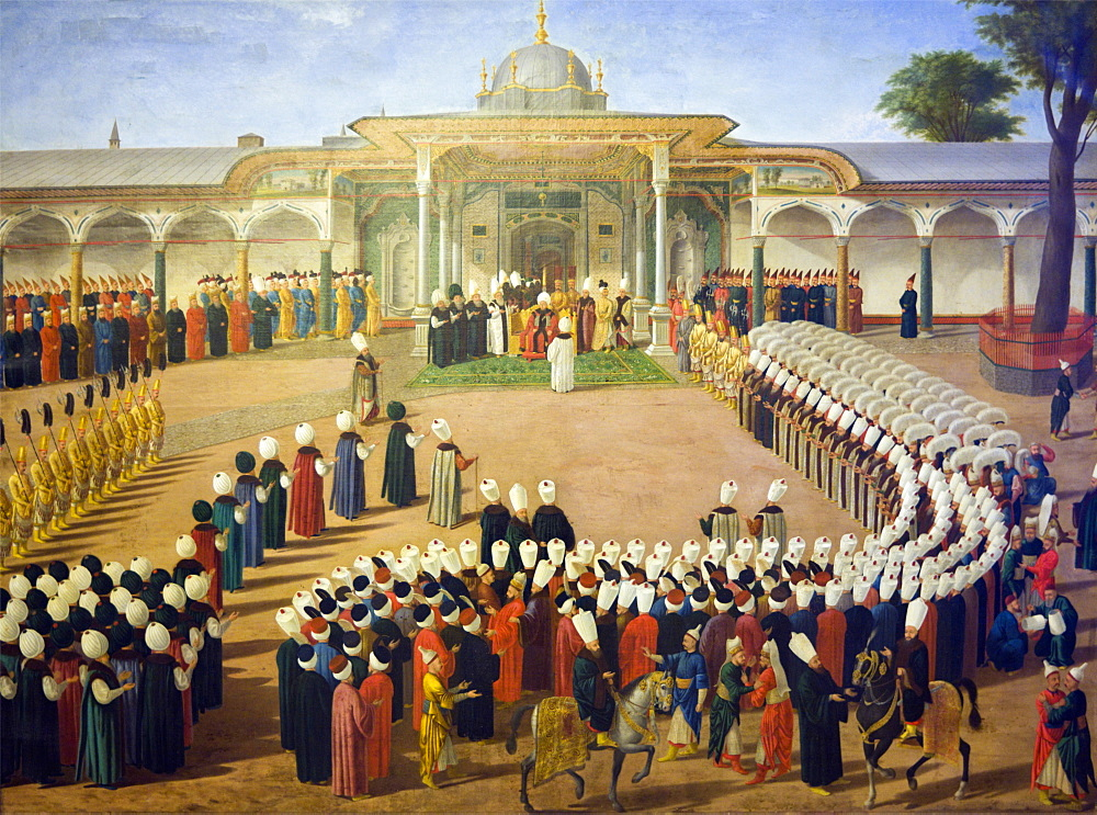 Reception at the Court of Sultan Selim III (1761-1807) at the Topkapi Palace, late 18th century, Istanbul, Turkey