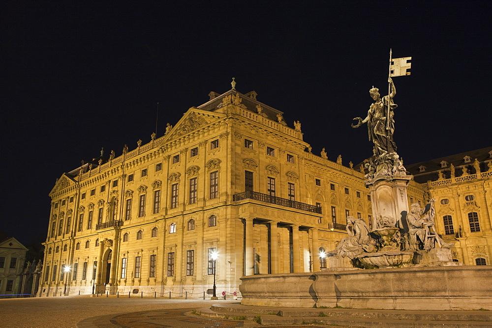 Residence of Wuerzburg with Franconia Fountain, Wuerzburg, Franconia, Bavaria, Germany