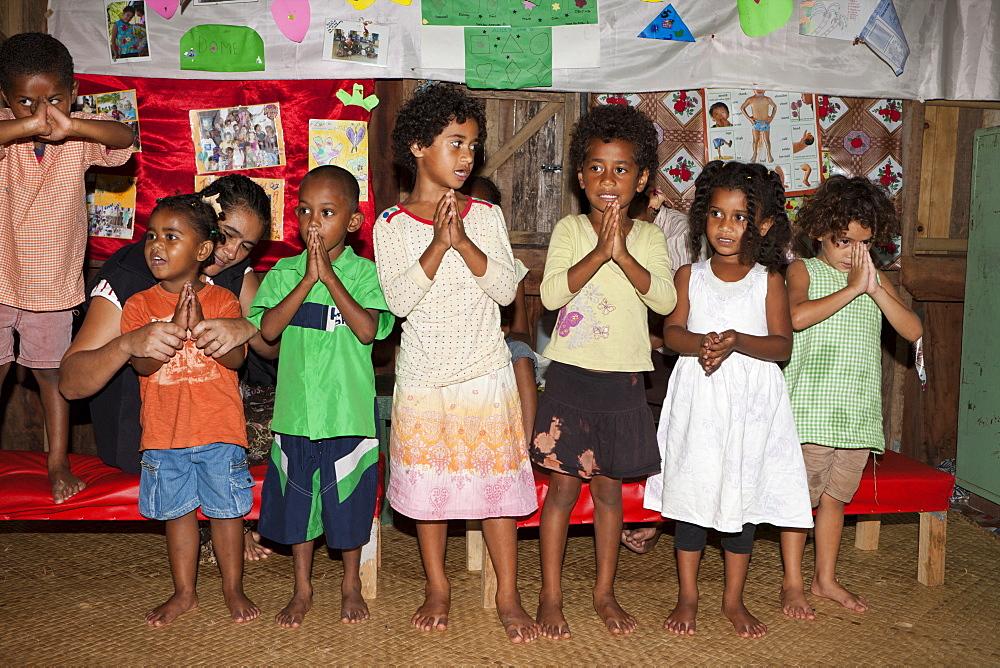 Children singing in Kindergarten, Pacific Harbour, Viti Levu, Fiji, Pacific