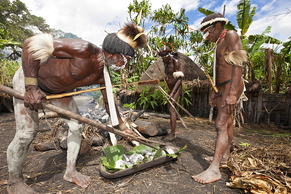 Dani tribesmen heat stones in fire for earth oven, Baliem Valley, West Papua, Indonesia, Southeast Asia, Asia - 759-9314