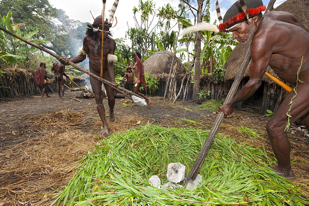 Dani tribesmen heat stones in fire for earth oven, Baliem Valley, West Papua, Indonesia, Southeast Asia, Asia - 759-9315