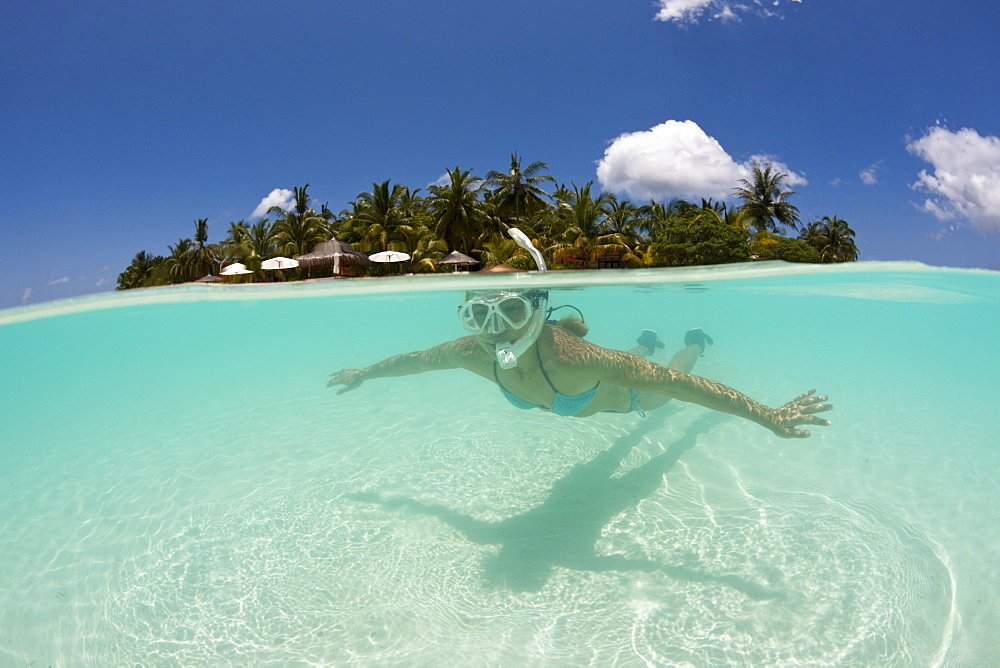 Snorkeling at Kurumba Island, North Male Atoll, Maldives, Indian Ocean, Asia - 759-9604