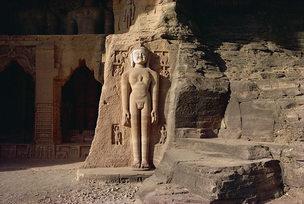 Jain rock sculptures below fort, Gwalior, Madhya Pradesh state, India, Asia - 76-1254