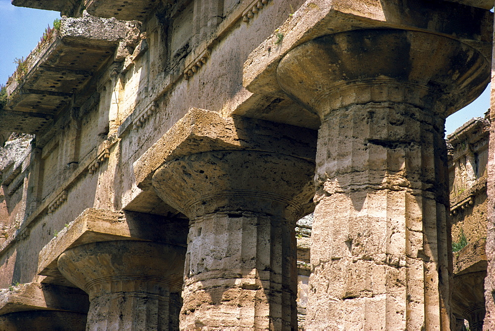 Close-up of the columns of the Temple of Neptune at Paestum, near Salerno, Campania, Italy, Europe