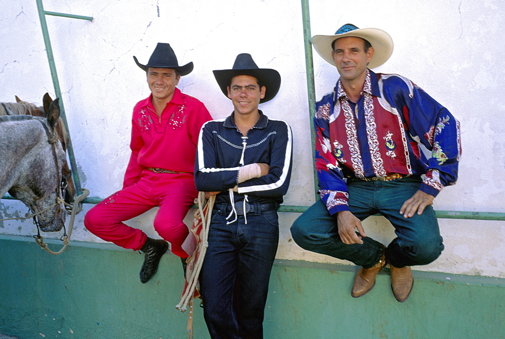 Cuban cowboys waiting to perform at a rodeo in Havana, Cuba
