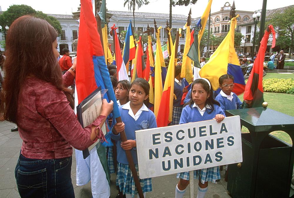 Plaza de Independencia primary school students gathering for ceremony, Quito, Ecuador