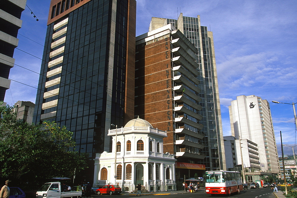 Ecuador's capital and second largest city skyscrapers in Quito's New Town area along Avenue Patria the banking and tourism area, Quito, Ecuador