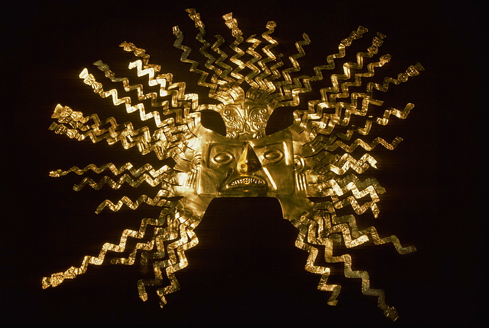 La Tolita Culture, c 500BC to 500AD Gold Diadem or Crown, in the collection of the Banco Central de Ecuador in Quito, North Coast, Ecuador