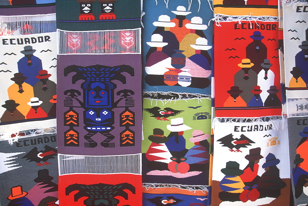 Otavalo, north of Quito is one of Latin Am's most famous markets for textiles, crafts and produce colorful woven textiles, Quito, Ecuador