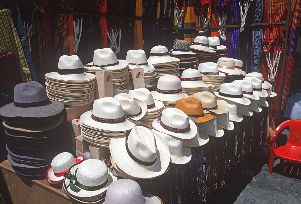 Otavalo, north of Quito is one of Latin Am's most famous markets for textiles, crafts and produce selling woven panama hats, Quito, Ecuador