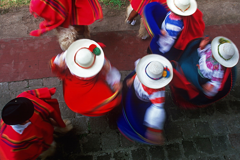 Hacienda Chorlavi outside of town of Ibarra, north of Otavalo Mother's Day celebration in the hacienda's patio with folk dancers, North of Quito, Highlands, Ecuador