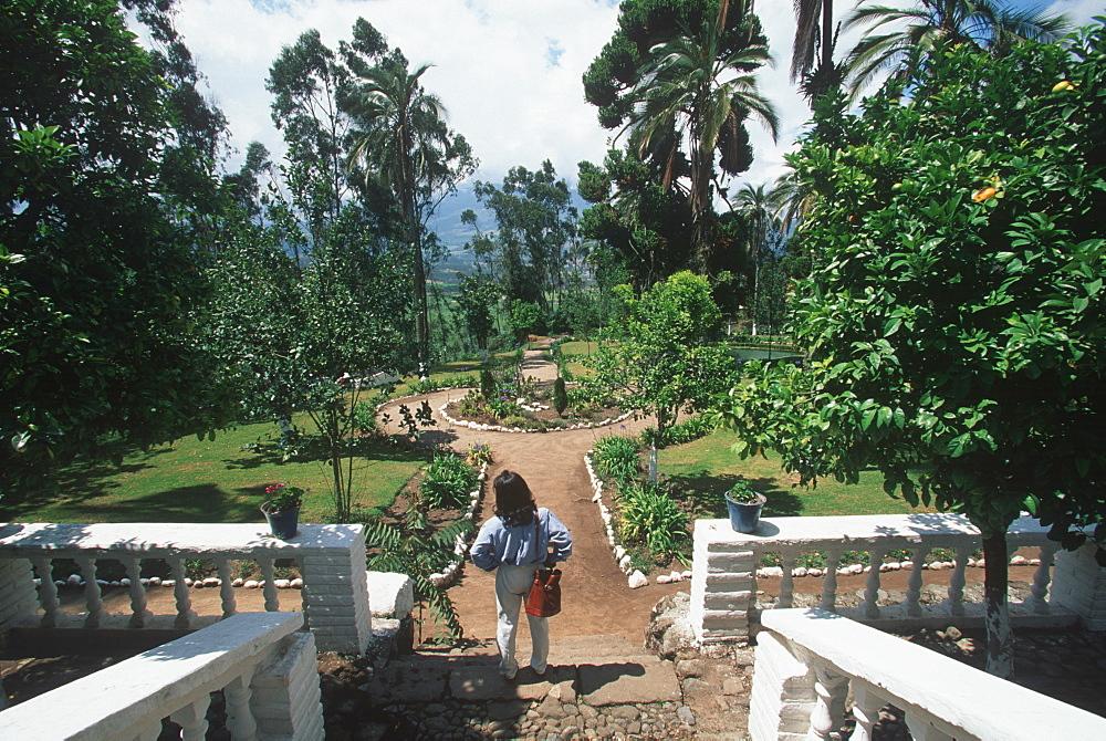 Hacienda Pinsaqui traditional hacienda now a hotel/restaurant with beautiful gardens, pools and grazing llamas north of Quito, Ecuador