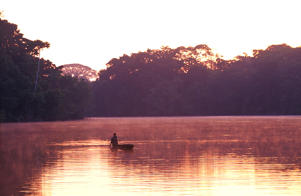 Amazon River Basin Napo River (Amazon tributary) down river from Coca an indian in a dugout canoe in primary rainforest at sunrise, Oriente, Ecuador