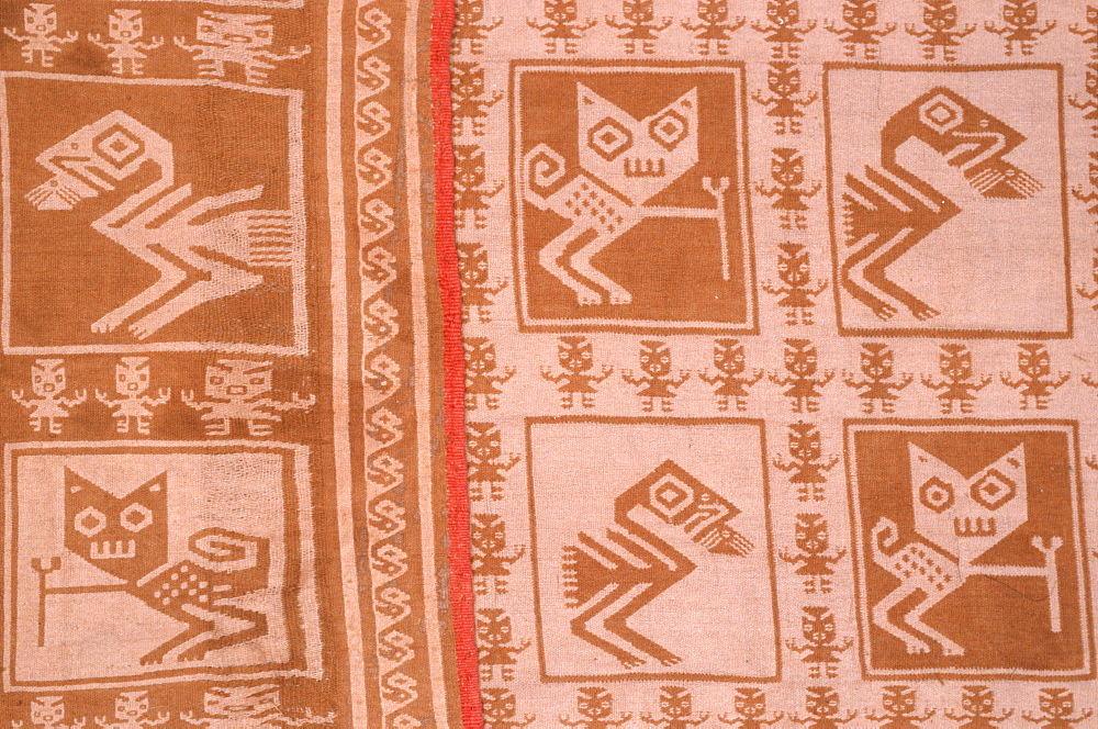 Chancay Culture, 13C AD jaguar and parrot in negative and positive design, cotton in the collection of the Museo Amano, Lima, Peru