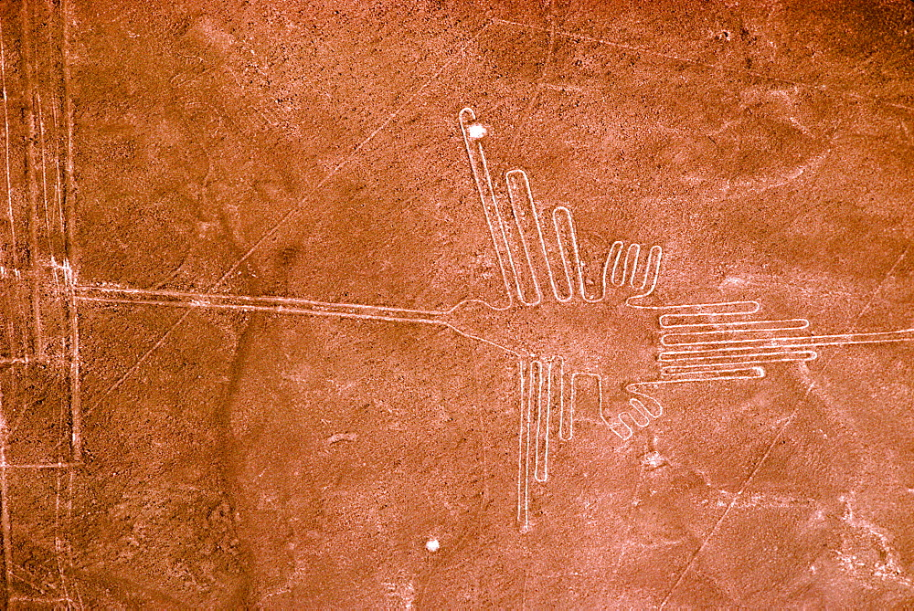Nazca lines, 200AD-800AD huge drawings in the desert on the south coast of Peru aerial view of a giant hummingbird, Peru