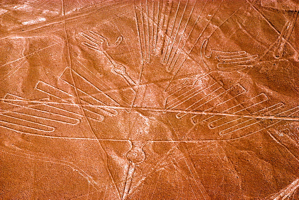 Nazca lines, 200AD-800AD huge drawings in the desert on the south coast of Peru aerial view of a giant hummingbird, Peru - 763-663