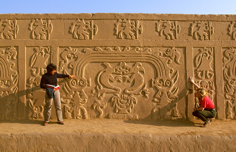 Chimu Culture Chan Chan, 1300-1468AD, capital and world's largest adobe city on 20 sqkm near Trujillo relief in Huaca del Dragon (Rainbow Temple), Peru